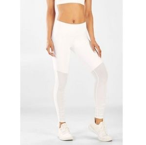 Fabletics White High Waisted Ruched Tights D1401